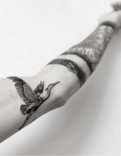 gergo augusztiny hungary budapest bird fine line tattoo