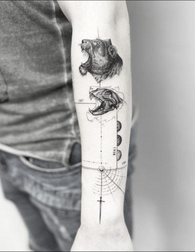 gergo augusztiny hungary budapest lion skull tattoo