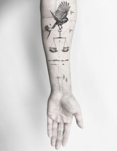 gergo augusztiny hungary budapest fine line sleeve tattoo