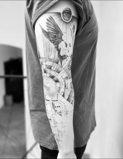 gergo augusztiny hungary budapest geometric fineline sleeve tattoo